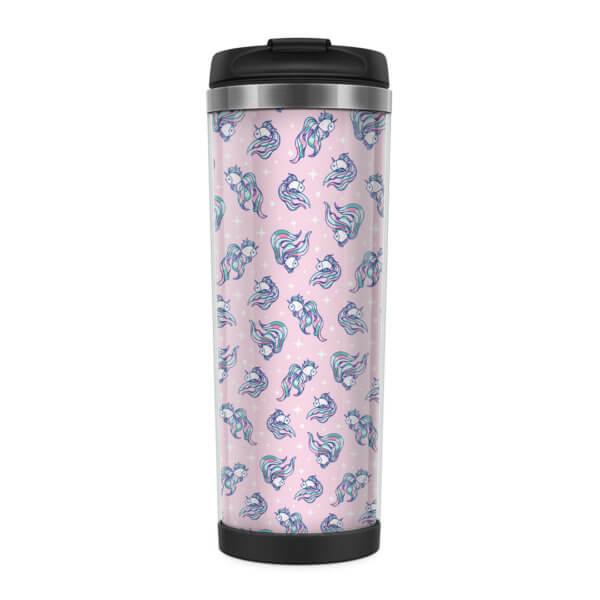 Металлическая термокружка со вставкой «Рыбки» розовая